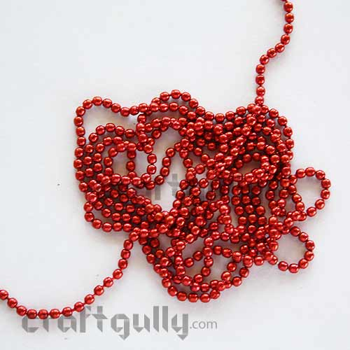 Ball Chain 1mm - Red Color - 9 Feet