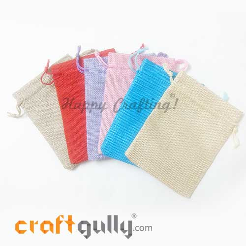 Pouch - Jute - 5.25 inches - Mixed Colors - 6 Pouches