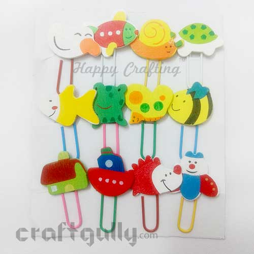 Paper Clips #4 - Wooden Animals - Pack of 12