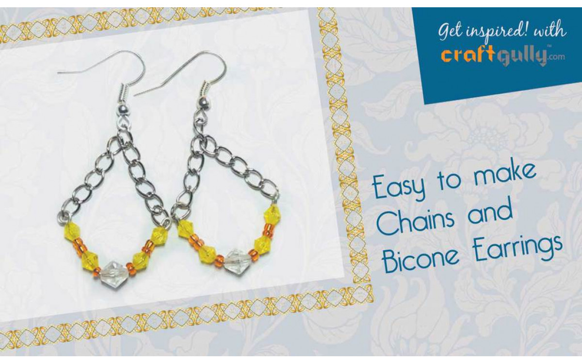 Easy-to-Make Chain and Bicone Beads Earrings
