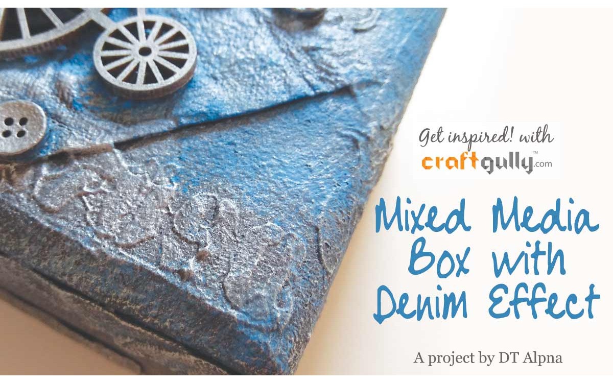Mixed Media Box With Denim Effect