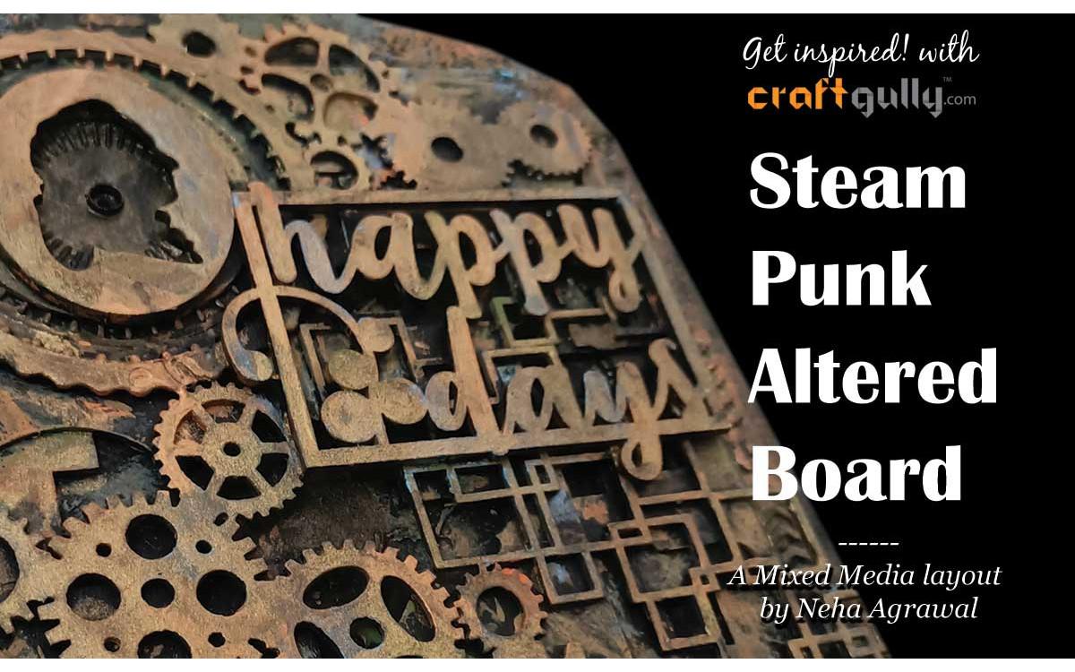 Steampunk Altered Chopping Board - Mixed Media Art