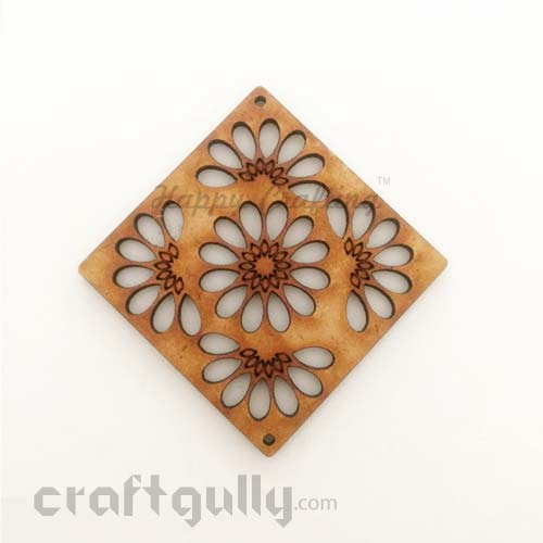 Laser Cut MDF Elements #22 - Square With Flowers - Pack of 1