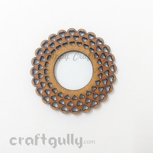 Laser Cut MDF Elements #20 - Round With Hearts - Pack of 1