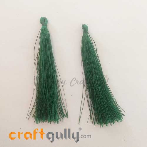 Tassels 70mm - Dark Green - Pack of 2