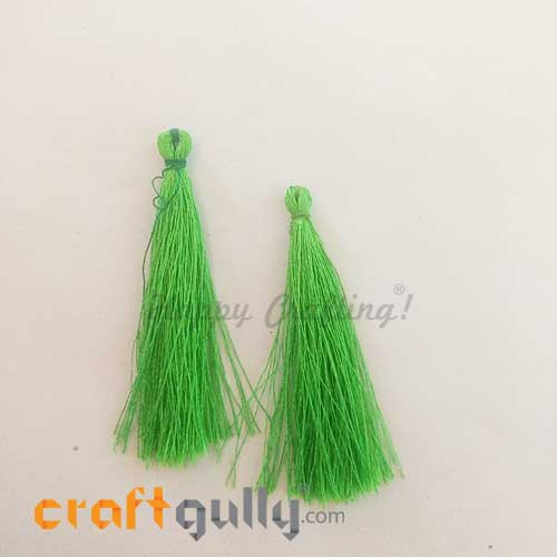Tassels 60mm - Parrot Green - Pack of 2