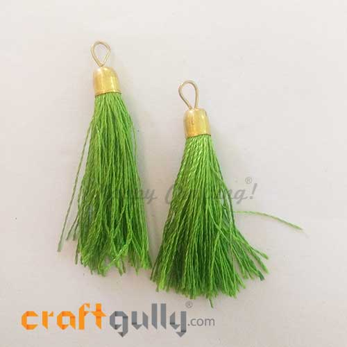 Tassels With Cap 50mm - Parrot Green - Pack of 2