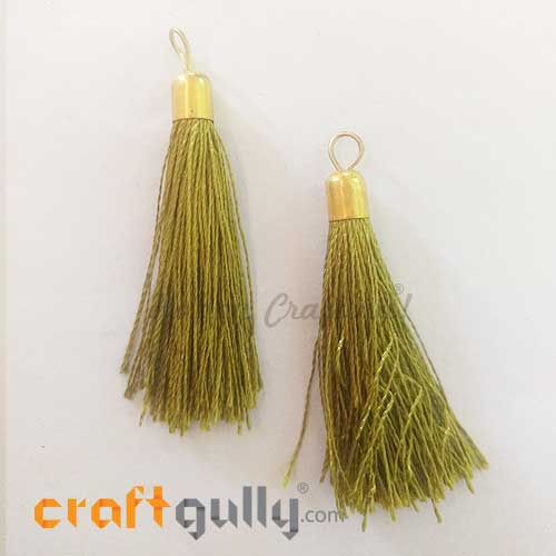 Tassels With Cap 60mm - Olive Green - Pack of 2