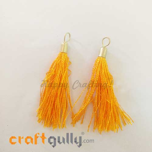 Tassels With Cap 55mm - Golden Yellow - Pack of 2