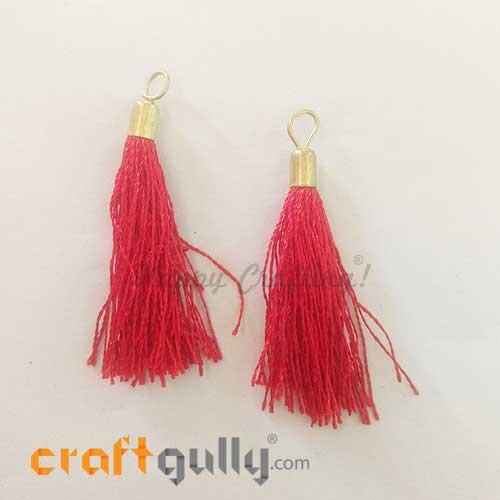 Tassels With Cap 52mm - Red - Pack of 2