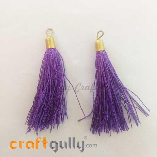 Tassels With Cap 56mm - Purple - Pack of 2