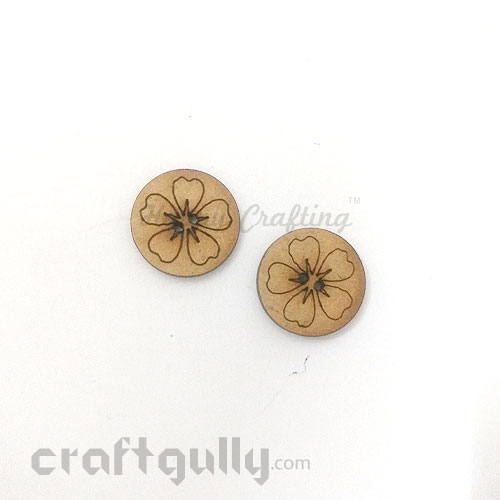 Buttons MDF #3 - 18mm Round With Flower - 2 Buttons