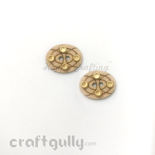 Buttons MDF #4 - 18mm Oval With Rhinestone - 2 Buttons
