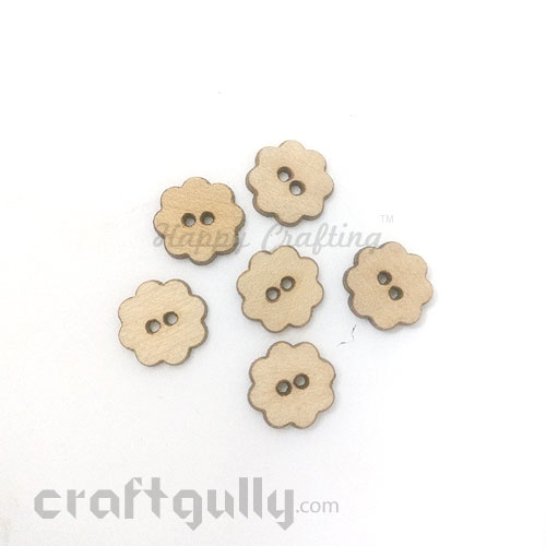 Buttons MDF #7 - 14mm Flower - 6 Buttons