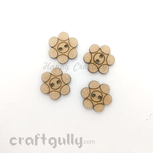 Buttons MDF #8 - 14mm Flower - 4 Buttons