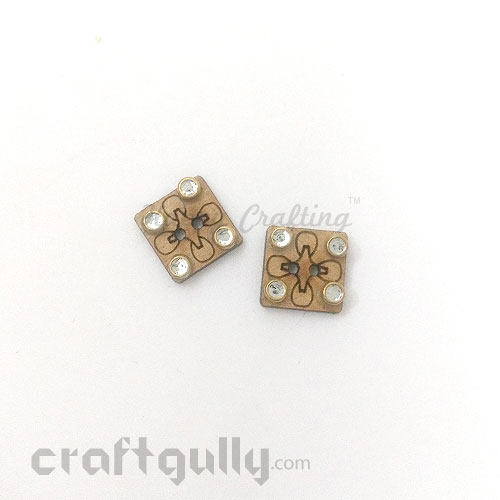 Buttons MDF #12 - 12mm Square With Rhinestone - 2 Buttons