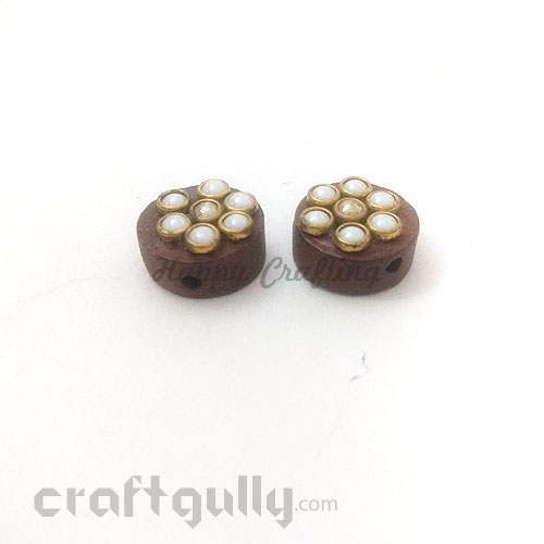 Buttons Wooden #4 - 16mm Round With Pearls - 2 Buttons