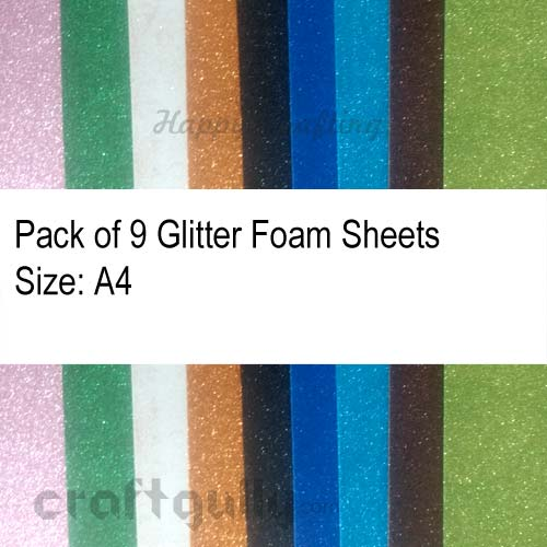 Foam Sheets A4 - Glitter - Mixed Colors - 9 Sheets