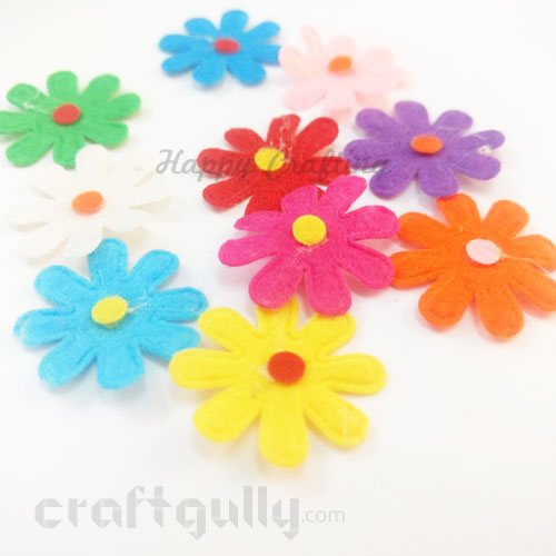 Die-Cut Felt Flowers 29mm - Assorted #1 - 10 Flowers