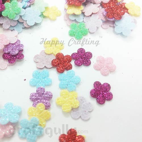 Die-Cut Felt Flowers 7mm - Assorted #3 With Glitter - 20 Flowers