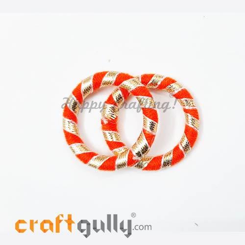 Designer Ring With Gota 39mm Rounded - Orange - 2 Rings