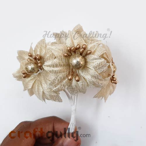 Artificial Flowers Fabric #3 - 42mm Golden - Pack of 2