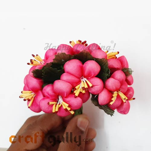 Artificial Flowers Fabric #2 - 32mm Pink - Pack of 10