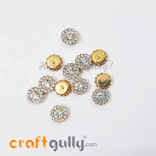 Rhinestone 9mm Flower - White In Golden Setting - Pack of 12