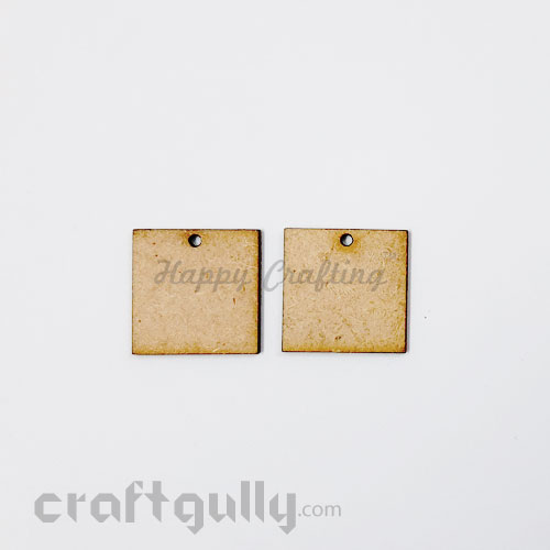 Earring / Pendant Base MDF - 25mm Square - Pack of 2