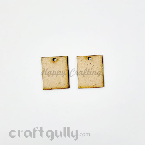 Earring / Pendant Base MDF - 25mm Rectangle - Pack of 2
