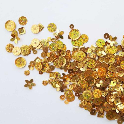 Sequins - Assorted Shapes - Golden With Lustre - 20gms