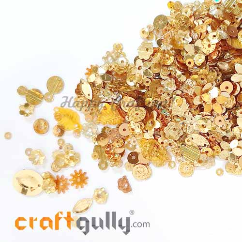 Sequins - Golden With Lustre - Assorted Shapes - 20gms