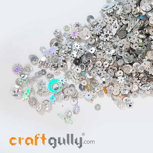 Sequins - Silver With Lustre - Assorted Shapes - 20gms