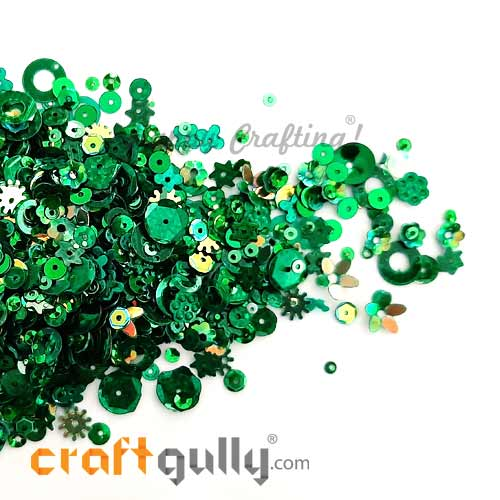 Sequins - Green With Lustre - Assorted Shapes - 20gms