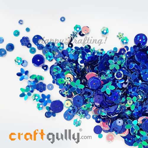 Sequins - Blue With Lustre - Assorted Shapes - 20gms