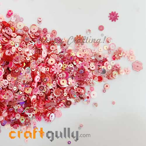 Sequins - Pink With Lustre - Assorted Shapes - 20gms