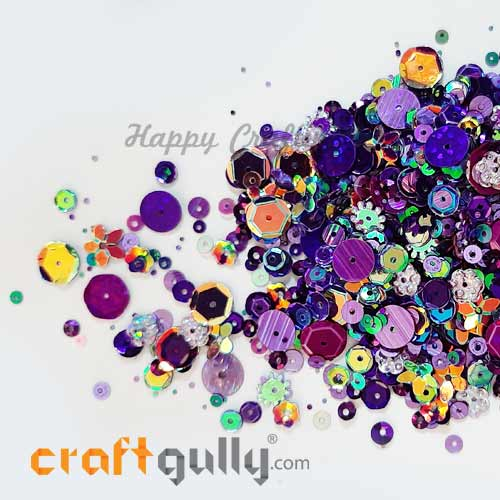Sequins - Purple With Lustre - Assorted Shapes - 20gms