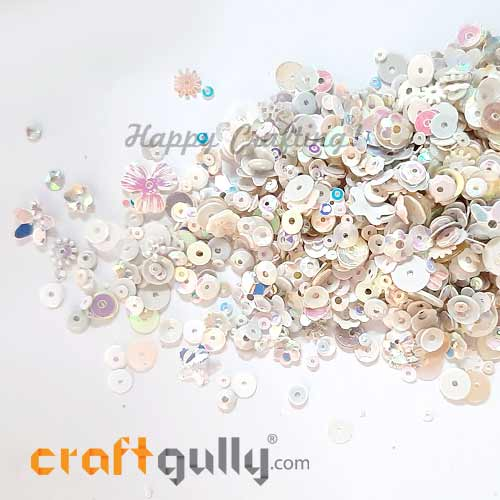 Sequins - White With Lustre - Assorted Shapes - 20gms