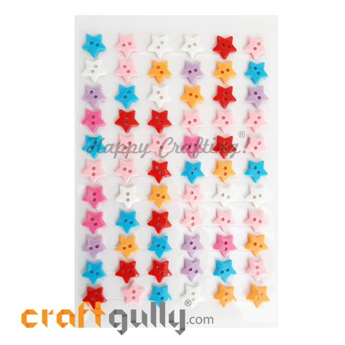 Stick-ons - Buttons - 11mm Star - Pack of 66