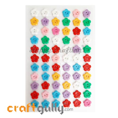 Stick-ons - Buttons - 11mm Flower - Pack of 66