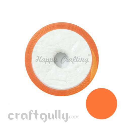 Satin Ribbons 1 inch - Orange - 8 meters