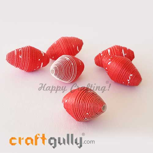Paper Beads 25mm Design #1 - Red & White - Pack of 2