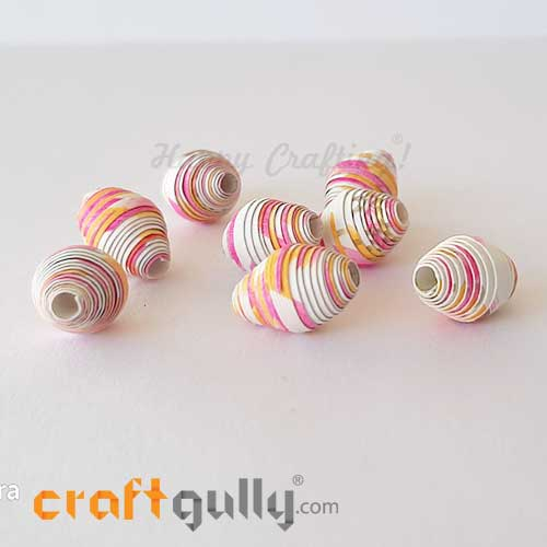 Paper Beads 13mm Design #2 - White, Yellow & Pink - Pack of 2