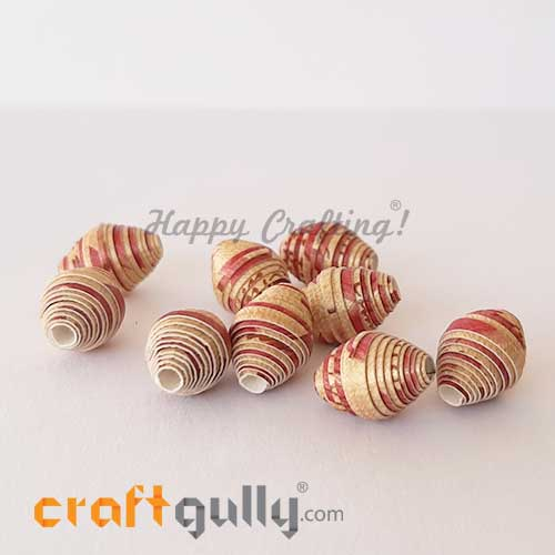 Paper Beads 13mm Design #3 - Metallic Gold & Maroon - Pack of 2