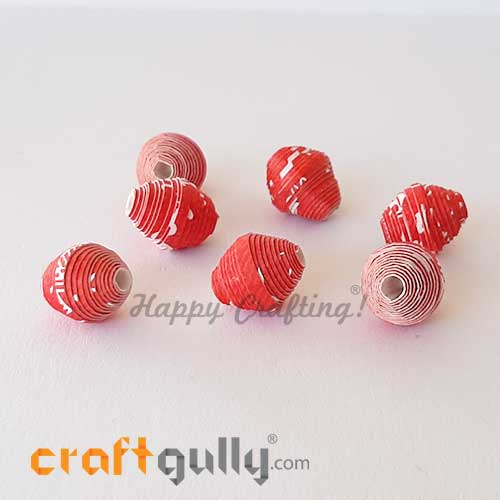 Paper Beads 12mm Design #4 - Red & White - Pack of 2