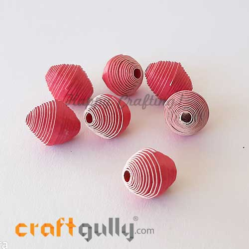 Paper Beads 13mm Design #5 - Dark Pink - Pack of 2