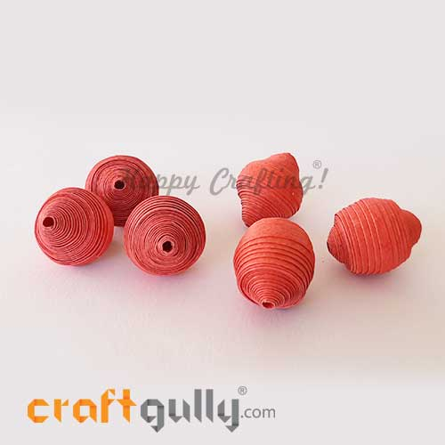 Paper Beads 24mm Design #7 - Candy Red - Pack of 2