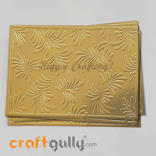 Embossed CardStock A6 #1 - Metallic Golden - Pack of 4