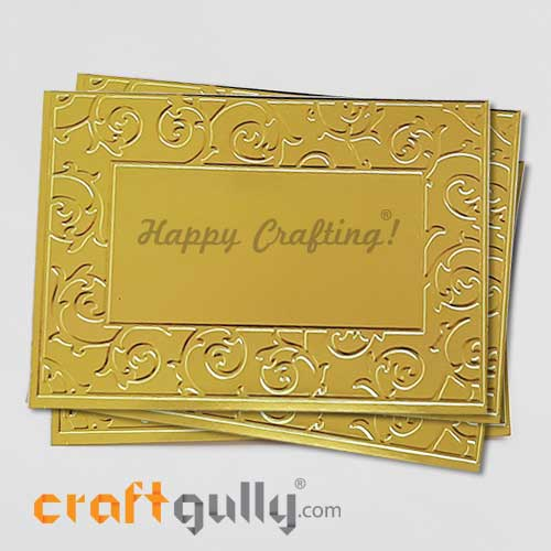 Embossed CardStock A6 #2 - Metallic Golden - Pack of 4