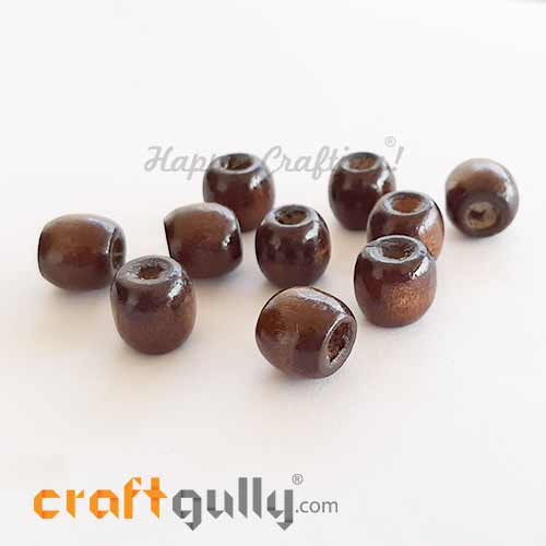 Wooden Beads 11mm Barrel - Dark Walnut - 10 Beads